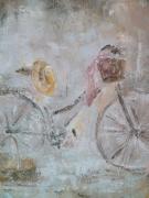 tableau scene de genre velo panier chapeau selle : Nos47 le vieux vélo