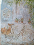 tableau scene de genre courses panier velo fleurs : Nos 64 la bicyclette hollandaise