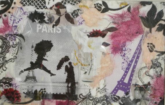 TABLEAU PEINTURE paris amour rose Personnages Collage  - PARIS