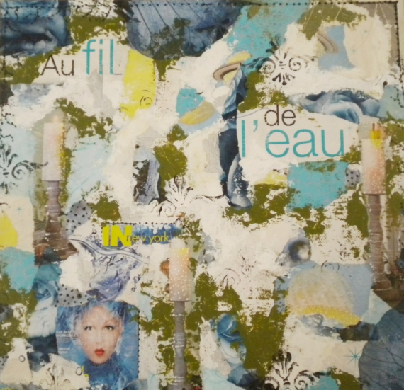 TABLEAU PEINTURE Collage  - AU FIL DE L'EAU
