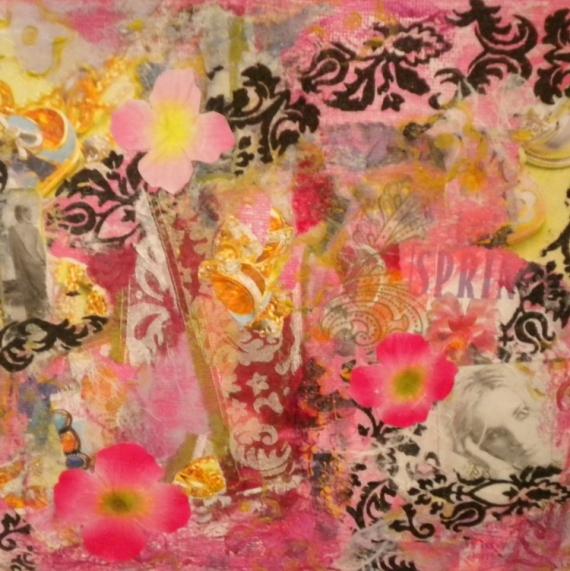 TABLEAU PEINTURE rose printemps femme bijou Collage  - SPRING