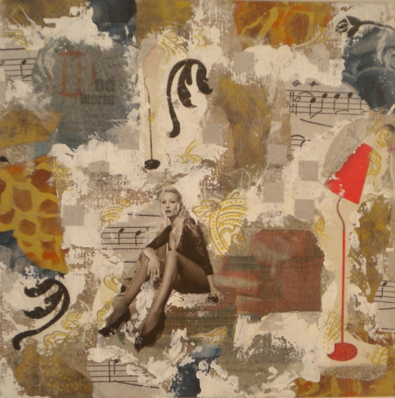 PAINTING fauteuil femme ambiance Personnages Collage  - LE FAUTEUIL
