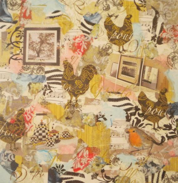 TABLEAU PEINTURE poule musique couleurs Animaux Collage  - JARDIN INTERIEUR