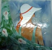 ceramique verre personnages vitrail fusing femme fleur : Femme aux arums