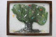 ceramique verre paysages olivier oiseaux arbre multicolore : Arbre aux oiseaux