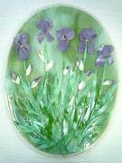ceramique verre fleurs iris feuilles fleurs violet : Champ d'iris