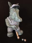 sculpture animaux platre sculpture animal : Âne joueur de golf, dispo
