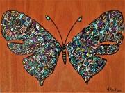 tableau animaux papillon art tribal acrylique : papillon tribal, oeuvre uique, dispo