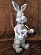 sculpture animaux platre moule sculpture : Lapin magicien, dispo