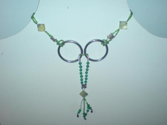 BIJOUX collier argent jade pierre  - Collier argent/jade