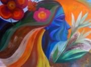 tableau personnages peace love portrait bleu : peace and love