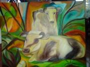 tableau animaux vache animaux paysage : Vaches au repos