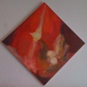 tableau abstrait rouge planete abstrait : Nébuleuse