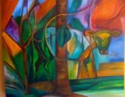 tableau animaux vache arbre vert bleu : Cache-Vache