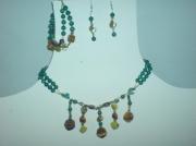 bijoux collier bracelet boucles d oreil malachite : Parure malachite