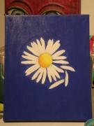 tableau fleurs fleur blanc bleu simple : flower