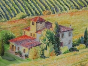 tableau paysages italie aquarelle toscane nantes : Un soir d'automne en Toscane