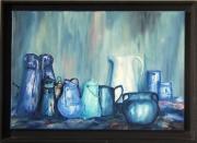 tableau nature morte pots : Pots turquoise