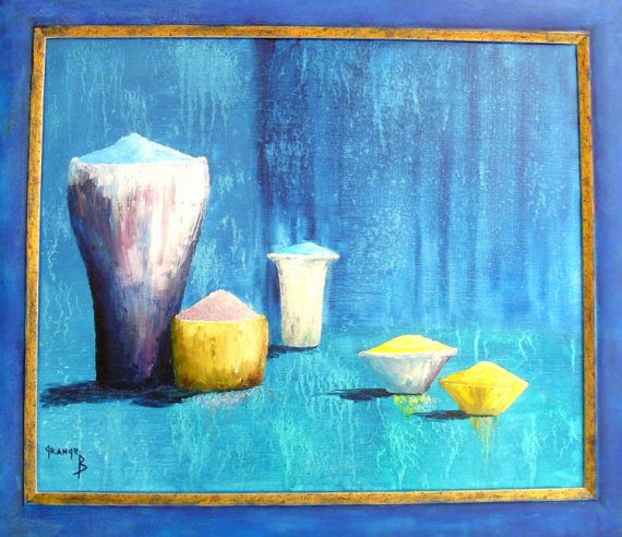 TABLEAU PEINTURE pots Nature morte Peinture a l'huile  - Pots et coupelles