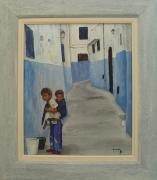 tableau personnages personnages enfants : Une rue de Fes