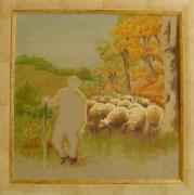 tableau scene de genre moutons berger : Moutons et bergers