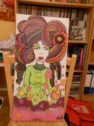 tableau personnages portrait annees 70 fleurs couleurs : pop and roll