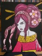 tableau personnages portrait geisha beaute feminite : princesse geisha