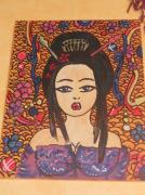 tableau personnages geisha portrait violet kimono : geisha