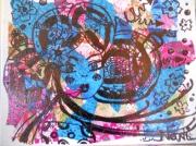 tableau personnages geisha marqueur collage portrait : collage geisha