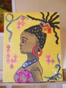 tableau personnages africaine portrait chaleur collages : africaine
