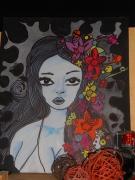tableau personnages portrait femme graffiti pop : Hypnotic eyes