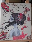 tableau personnages portrait geisha graffiti douceur : Geisha romantique