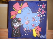 tableau personnages kokeshi graffiti japon fleurs : petite kokeshi