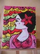 tableau personnages portrait femme espagnole rose : Jolie latine 2
