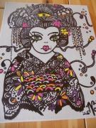 tableau personnages geisha marqueur acrylique nanami cowdroy : geisha au marqueur