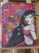 tableau personnages portrait femme latine graffiti : Bomba Latina