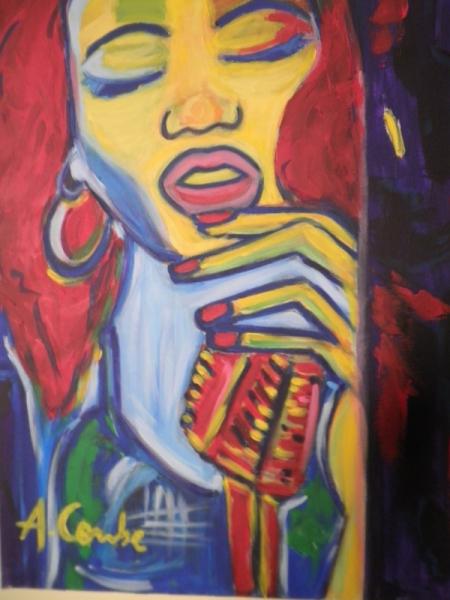 TABLEAU PEINTURE Personnages Acrylique  - Portrait d'une chanteuse de jazz
