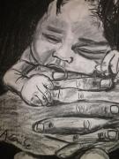 dessin personnages : Bébé dans les mains de son père