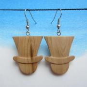 bijoux autres boucles d oreil poirier chapeaux : Boucles d'oreilles en bois