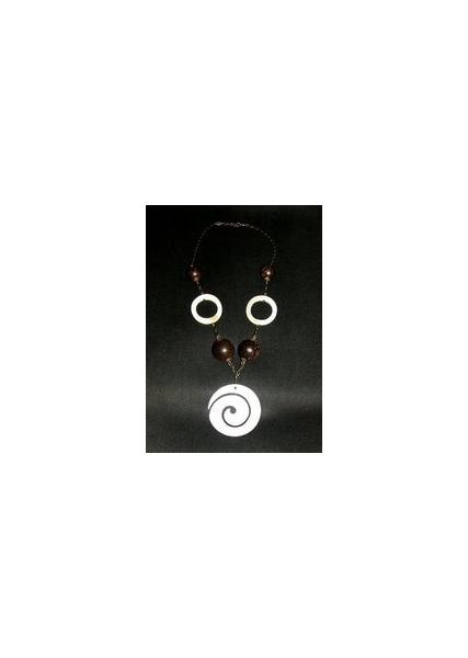 BIJOUX  - Spirale et anneaux en nacre, perles en bois