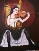 painting personnages musique violon femme jupe ecossaise : violoniste