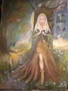 painting paysages femme ,a la flute foret fantastique de reve magique : flutiste dans la forôt