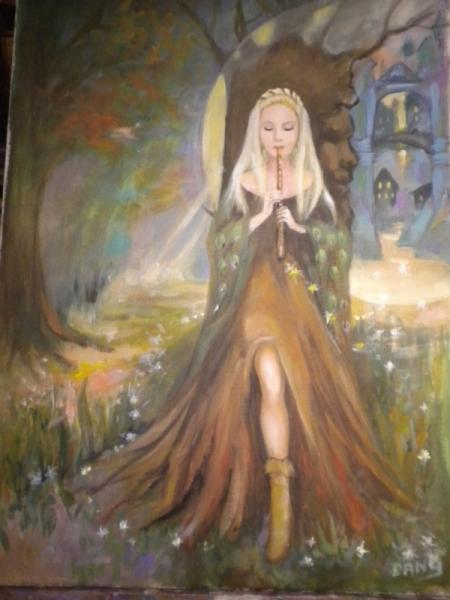 TABLEAU PEINTURE femme a la flûte forêt fantastique de rêve magique Paysages Acrylique  - flutiste dans la forôt