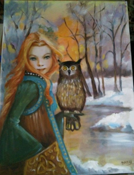 TABLEAU PEINTURE fillette blonde chouette dans les bo paysage hivernal costume ancien Personnages  - petite sorcière a la chouette