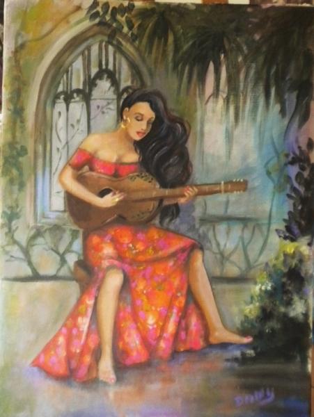 TABLEAU PEINTURE guitariste femme latino robe rouge décor jardin intérie Personnages Acrylique  - guitariste latino