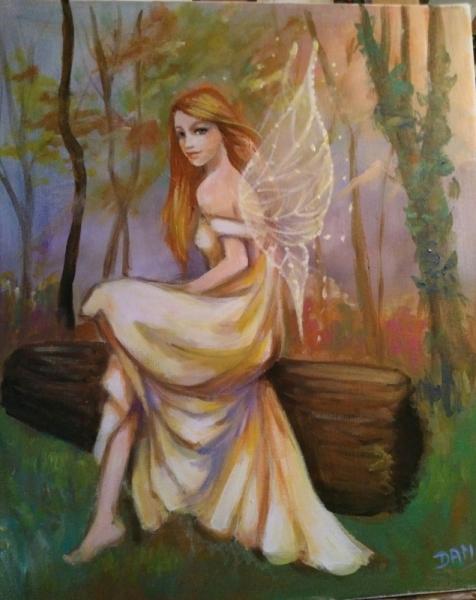 TABLEAU PEINTURE fée assise forêt robe jaune ailes dorées Personnages Acrylique  - fée mélusine