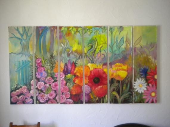 TABLEAU PEINTURE fleurs imaginaire plusieurs pans Fleurs Peinture a l'huile  - jardin d'eden