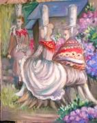 painting personnages bretonnes bigoudenes couleurs gaies jardin : BRETONNES