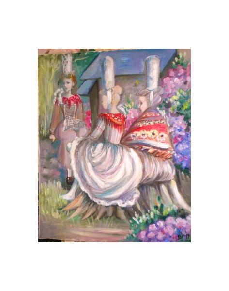 TABLEAU PEINTURE BRETONNES BIGOUDENES COULEURS GAIES JARDIN Personnages Peinture a l'huile  - BRETONNES