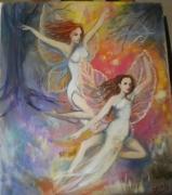 painting personnages fantastique fees joyeuses danse dans la foret onirique : fées dansantes